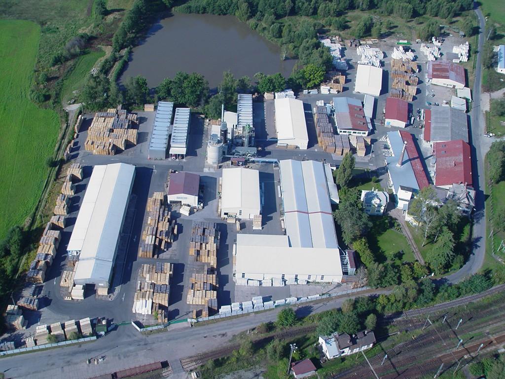 Luftaufnahme des SECA Hobelwerks in Borohradek