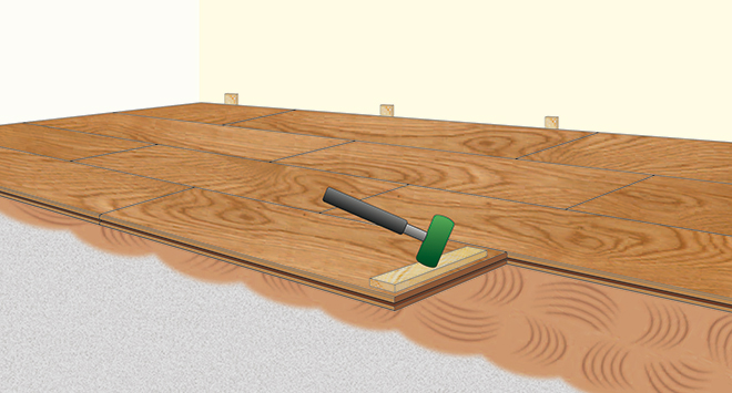Boden, insbesondere Holzboden, verlegen mit Klebstoff