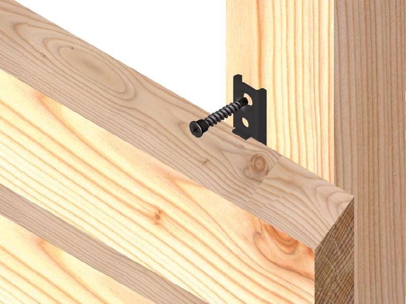 Die spezielle Form des FassadenClip ® FCS sorgt durch den Abstand zur Lattung für eine gute Hinterlüftung.