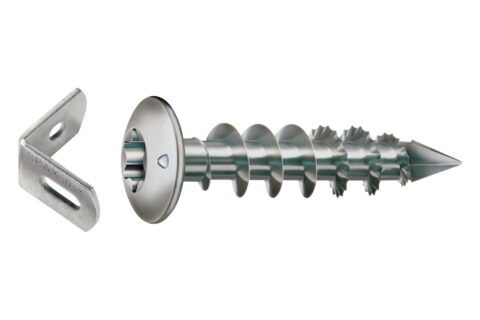Zaunverbinderset Edelstahl 7,0 x 35 mm (1xWinkel + 2xSchraube) - 1